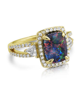 18K Yellow Gold Australian Black Opal/Diamond Ring | RNBFF585233EI