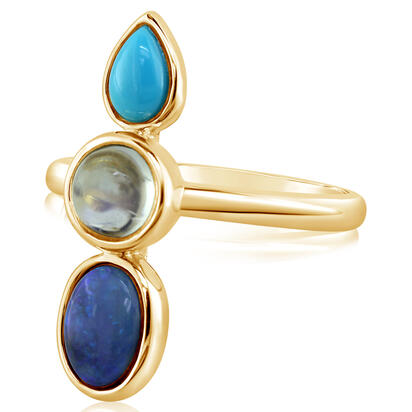 14K Yellow Gold Australian Black Opal/Arizona Turquoise/Moonstone Ring | RNBFS050090C