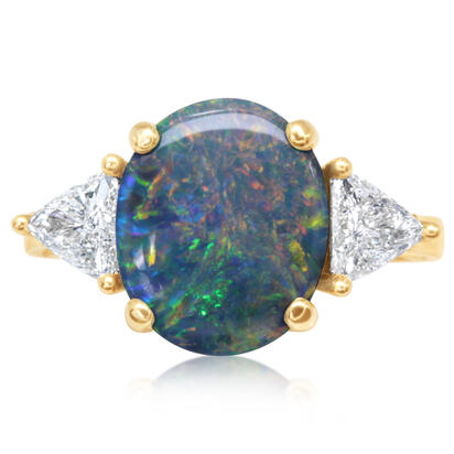 18K Yellow Gold Australian Black Opal/Diamond Ring | RNBFS434407E