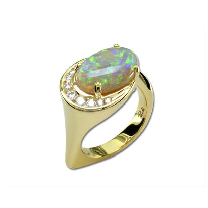 18K Yellow Gold Australian Opal/Diamond Ring | RNBOV017426EI