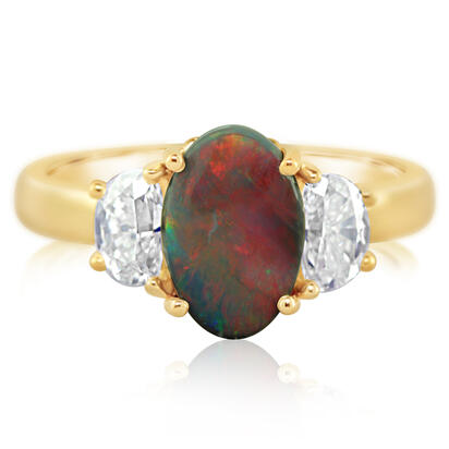 18K Yellow Gold Australian Black Opal/Diamond | RNBOV020143E