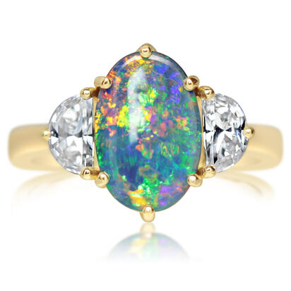 18K Yellow Gold Australian Black Opal/Diamond Ring | RNBOV0880192E