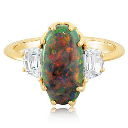 18K Yellow Gold Australian Black Opal/Diamond Ring | RNBOV100361E