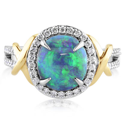18K Yellow and White Gold Australian Black Opal/Diamond Ring | RNBOV230186BI