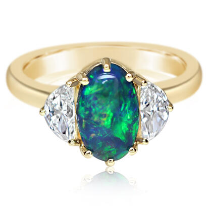 18K Yellow Gold Australian Black Opal/Diamond Ring | RNBOV236167E