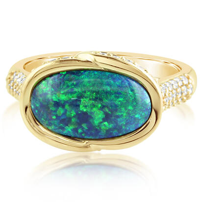 18K Yellow Gold Australian Black Opal/Diamond Ring | RNBOV265340EI