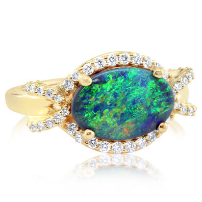 18K Yellow Gold Australian Black Opal/Diamond Ring | RNBOV432220EI