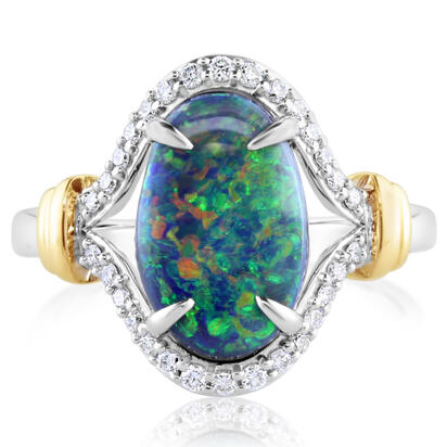 18K Yellow and White Gold Australian Black Opal/Diamond Ring | RNBOV587242BI
