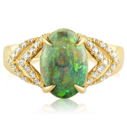 18K Yellow Gold Australian Black Opal/Diamond Ring | RNBOV644281EI