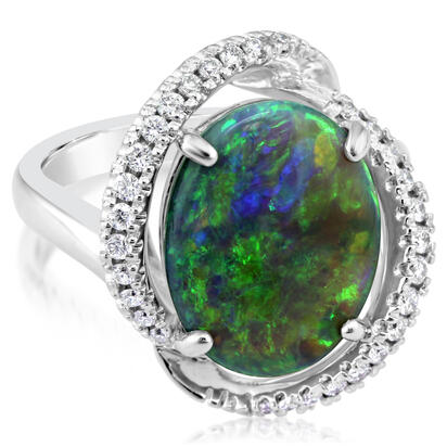 14K White Gold Australian Black Opal/Diamond Ring