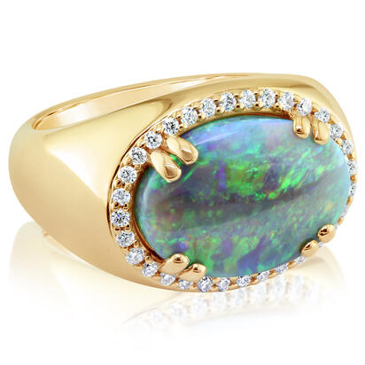 18K Yellow Gold Australian Black Opal/Diamond Ring | RNBOVI980468EI