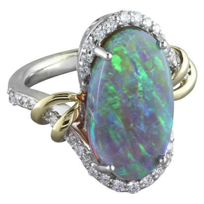 18K White and Yellow Gold Australian Opal/Diamond Ring | RNBOVI980528BI