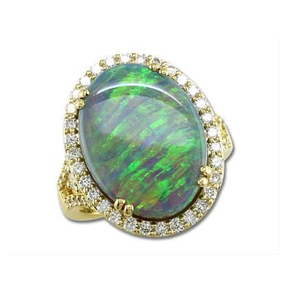 18K Yellow Gold Australian Black Opal/Diamond Ring | RNBOVI980992EI