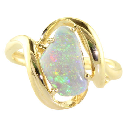 14K Yellow Gold Australian Opal/Diamond Ring | RNF280I
