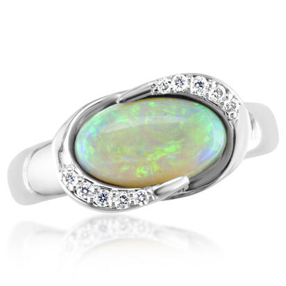 14K White Gold Australian Opal/Diamond Ring | RNLFS150145W
