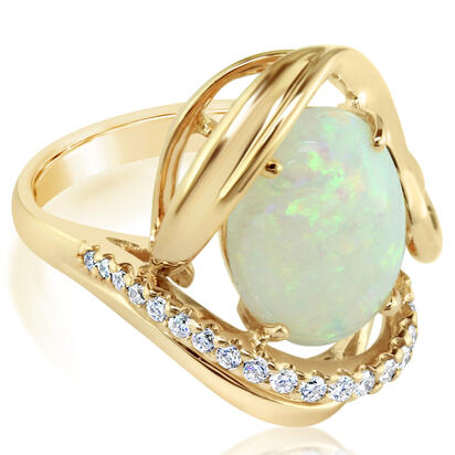 14K Yellow Gold Australian Opal/Diamond Ring | RNLFS200222CI