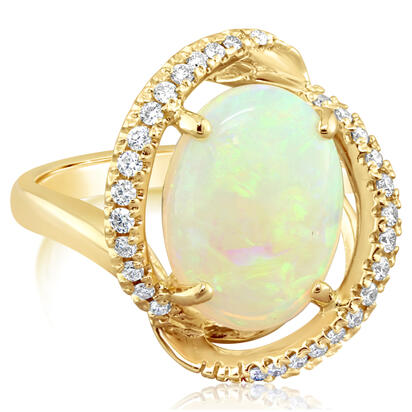 14K Yellow Gold Australian Opal/Diamond Ring | RNLFS200317CI