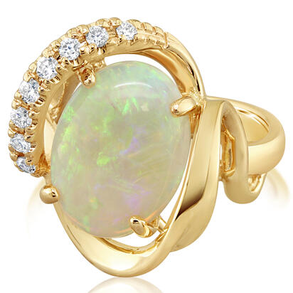 14K Yellow Gold Australian Opal/Diamond Ring | RNLFS200335CI