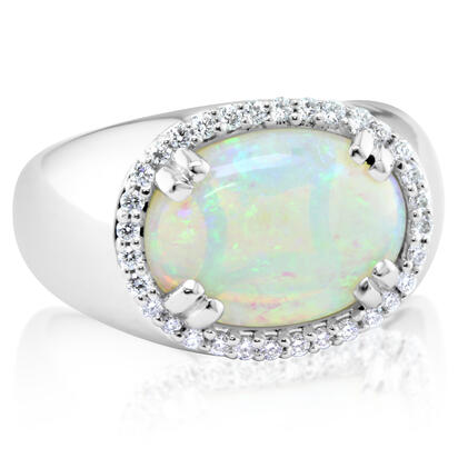 18K White Gold Australian Opal/Diamond Ring | RNLFS200335QI