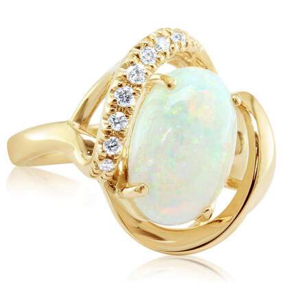 14K Yellow Gold Australian Opal/Diamond Ring | RNLFS200378CI