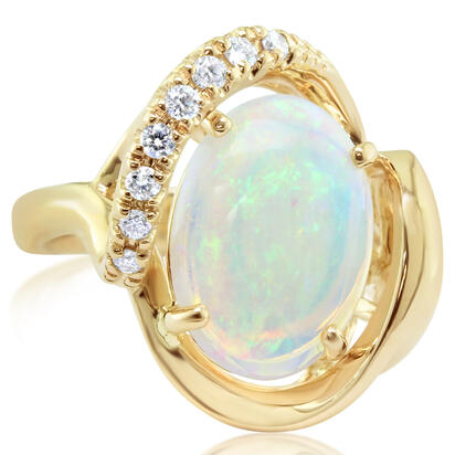 14K Yellow Gold Australian Opal/Diamond Ring | RNLFS300270CI