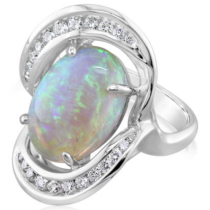 14K White Gold Australian Opal/Diamond Ring | RNLFS300506WI