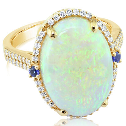18K Yellow Gold Australian Opal/Diamond Ring | RNLFS300797EI