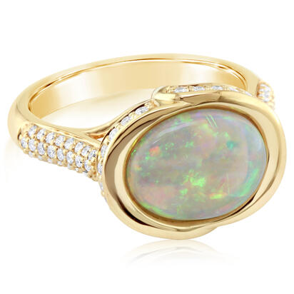 18K Yellow Gold Australian Opal/Diamond Ring | RNLFS400268EI
