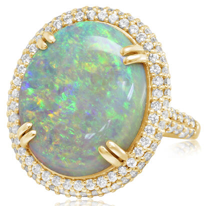18K Yellow Gold Australian Opal/Diamond Ring | RNLFS400902EI