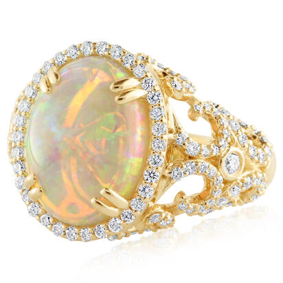 18K Yellow Gold Australian Opal/Diamond Ring