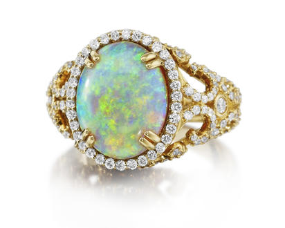 18K Yellow Gold Australian Black Opal/Diamond Ring | RNBOV0137695EI