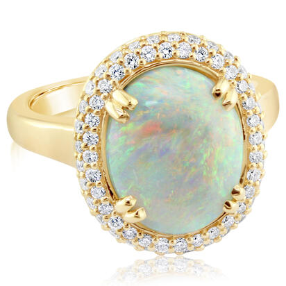 18K Yellow Gold Australian Opal/Diamond Ring | RNLFS600346EI