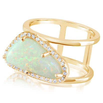 14K Yellow Gold Australian Opal/Diamond Ring | RNLOFF055322C