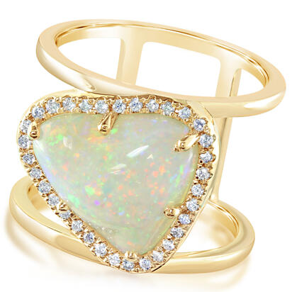 14K Yellow Gold Australian Opal/Diamond Ring | RNLOFF055386C