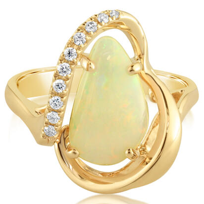 14K Yellow Gold Australian Opal/Diamond Ring | RNLOFF100174CI