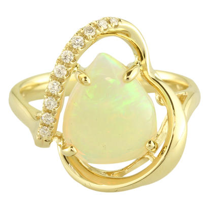14K Yellow Gold Australian Opal/Diamond Ring | RNLOFF100220CI