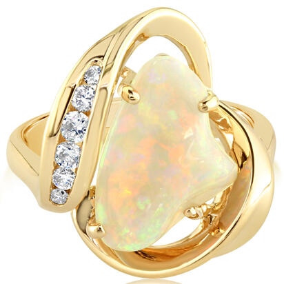 14K Yellow Gold Australian Opal/Diamond Ring | RNLOFF150278CI