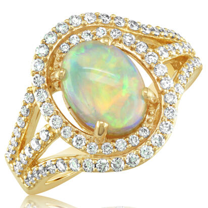 18K Yellow Gold Australian Opal/Diamond Ring | RNLOV400264EI