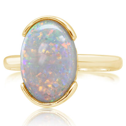 14K Yellow Gold Australian Opal Ring | RNO051-12I