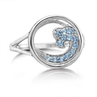 Sterling Silver Blue Topaz Wave In Circle 15mm Ring | RNT043B2XSI