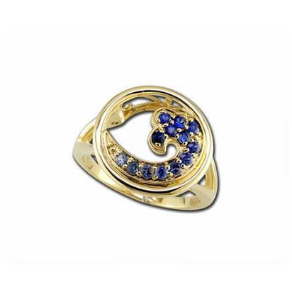 14K Yellow Gold Graduated Blue Sapphire Wave In Circle 15mm Ring