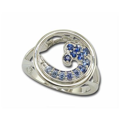 14K White Gold Graduated Blue Sapphire Wave In Circle 15mm Ring