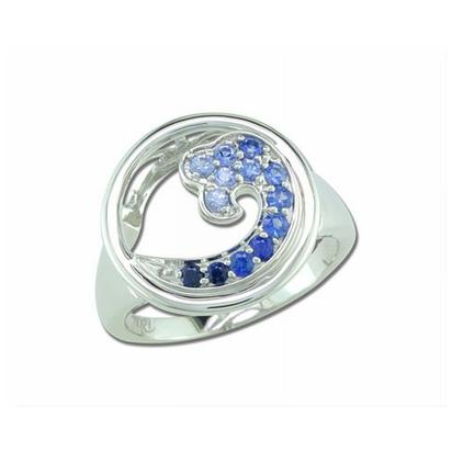 14K White Gold Graduated Blue Sapphire Wave In Circle 15mm Ring | RNT046GSXWI