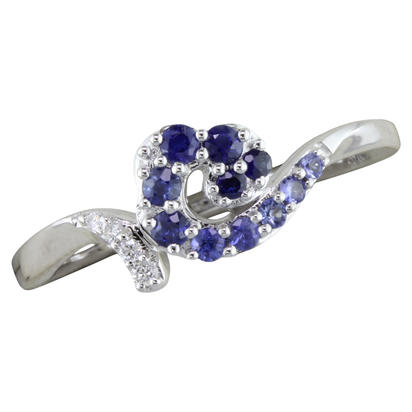 14K White Gold Graduated Blue Sapphire/Diamond Wave Ring | RNT056GS1WI