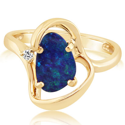 14K Yellow Gold Australian Opal/Diamond Ring | ROD2582A3CI