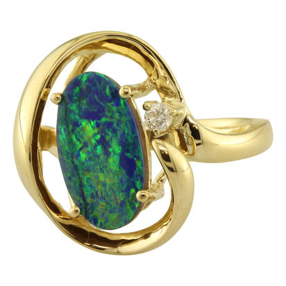 14K Yellow Gold Australian Opal/Diamond Ring | ROD2593A3CI
