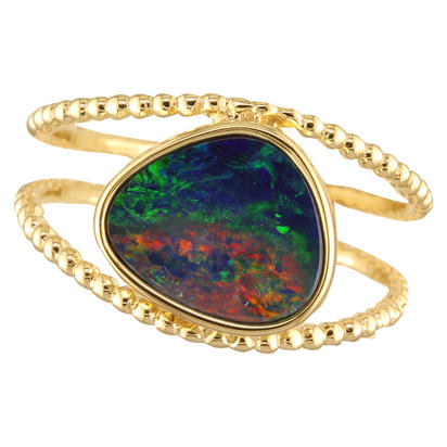 14K Yellow Gold Australian Opal Doublet Split Beaded Shank Ring