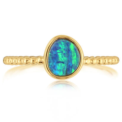 14K Yellow Gold Australian Opal Doublet Beaded Shank Ring | ROD261-5I