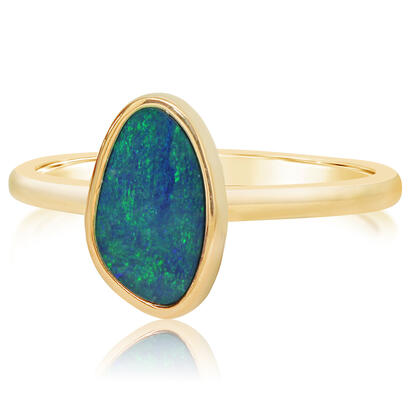 14K Yellow Gold Australian Opal Doublet Smooth Shank Ring
