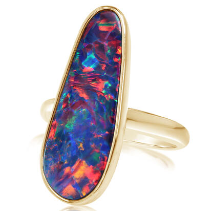 14K Yellow Gold Australian Opal Doublet Ring - Large Version | ROD262L-6I